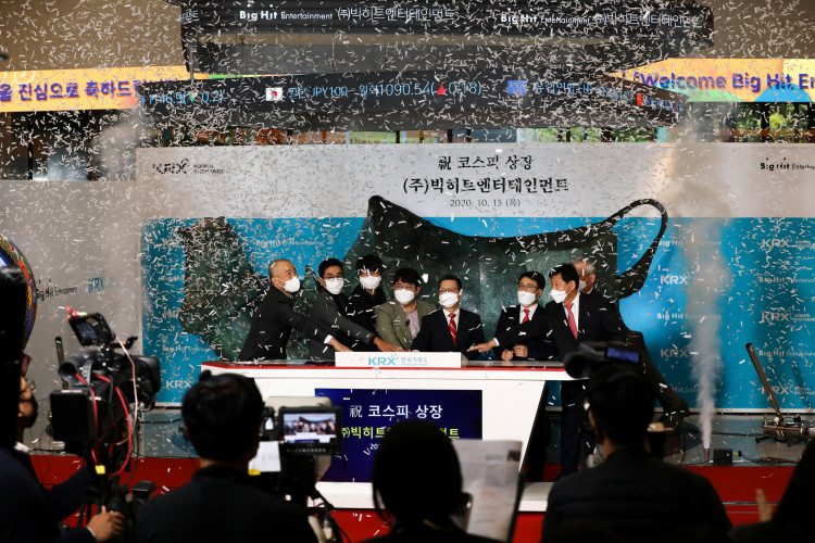 Bang Si-hyuk, founder of Big Hit Entertainment Co.,poses for a photograph during the company's initial public offering ceremony at the Korea Exchange in Seoul, South Korea, on Thursday, Oct. 15, 2020.